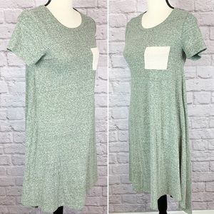 Lularoe Solid Green Carly Pocket Hi Low Dress